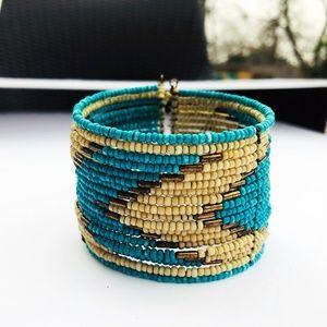 Noonday Fair Trade Boho Beaded Turquoise Bracelet